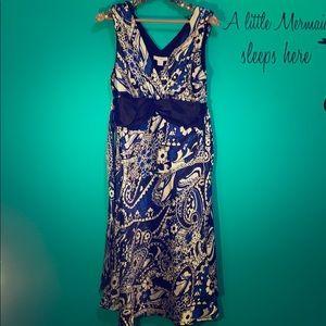 Dressbarn size 14 blue and white dress